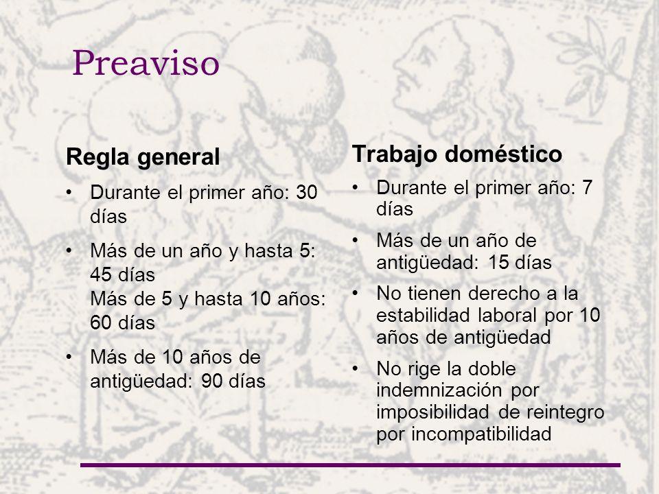 Preaviso Regla general Trabajo doméstico