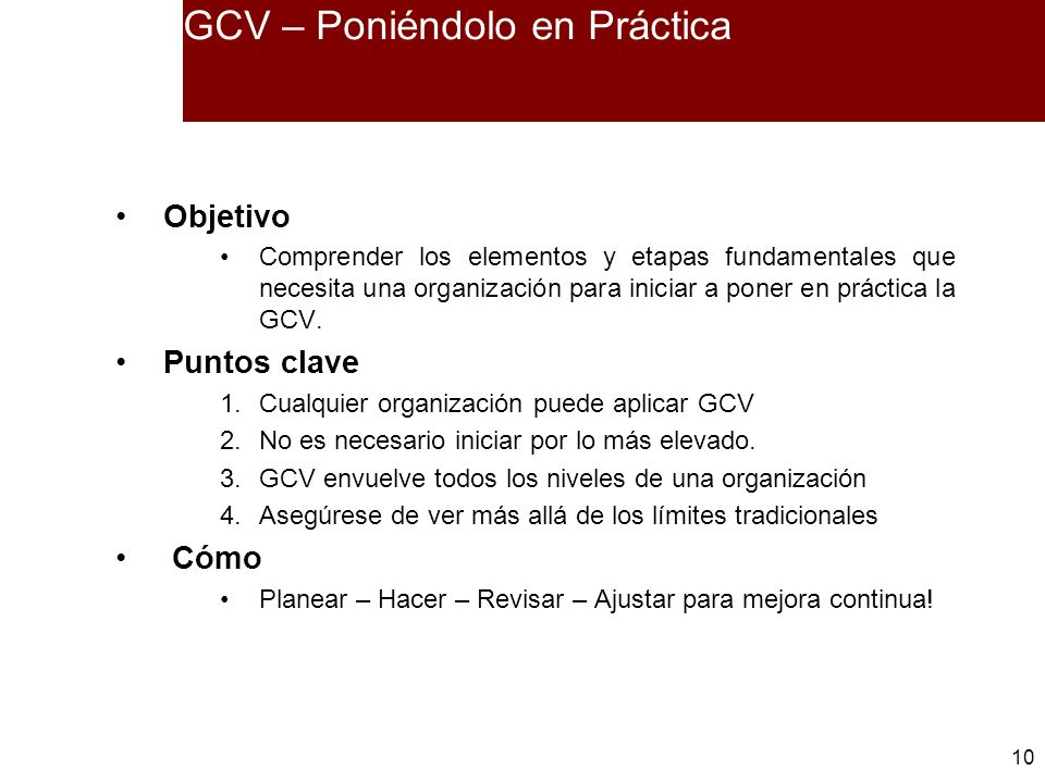 GCV – Poniéndolo en Práctica