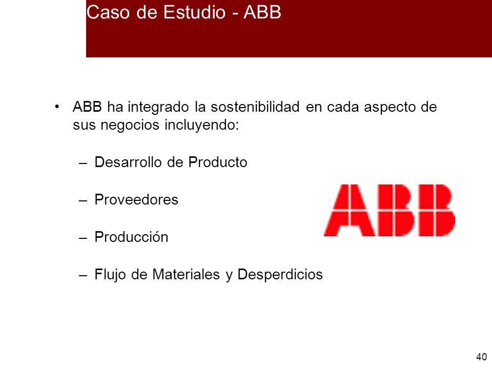 Caso de Estudio - ABB ABB ha integrado la sostenibilidad en cada aspecto de sus negocios incluyendo: