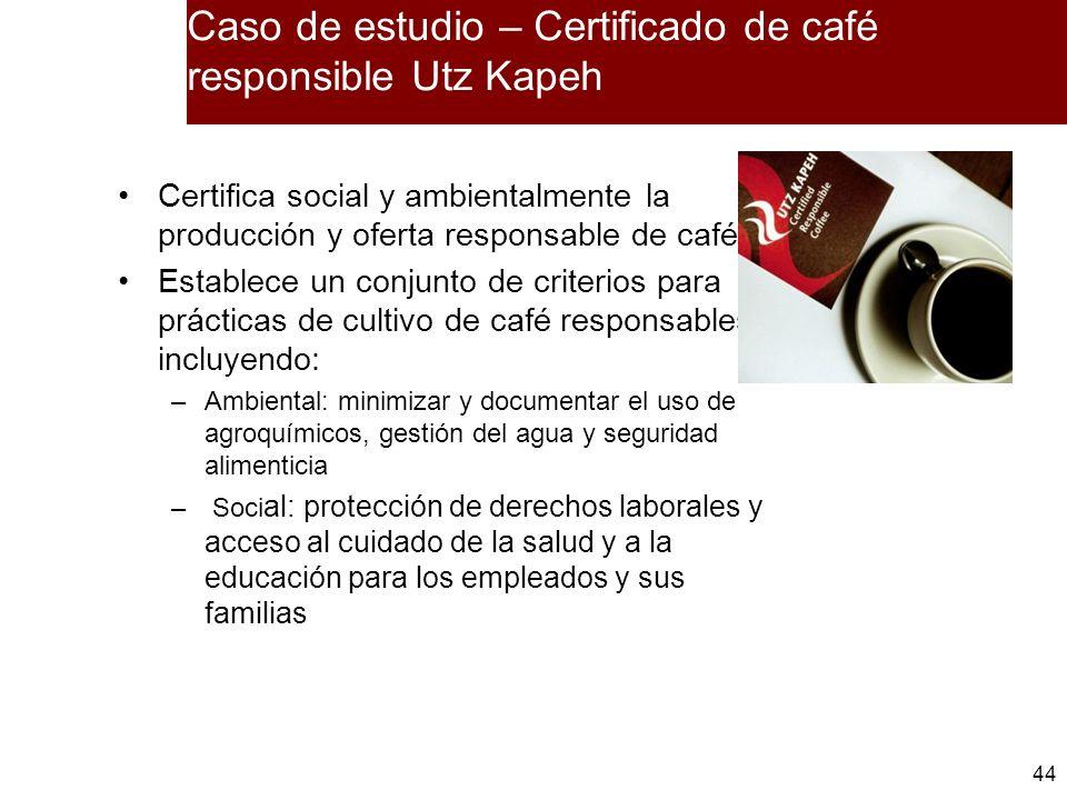 Caso de estudio – Certificado de café responsible Utz Kapeh