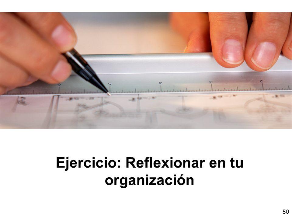 Ejercicio: Reflexionar en tu organización