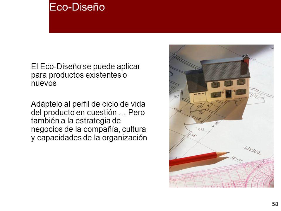 Eco-Diseño El Eco-Diseño se puede aplicar para productos existentes o nuevos.