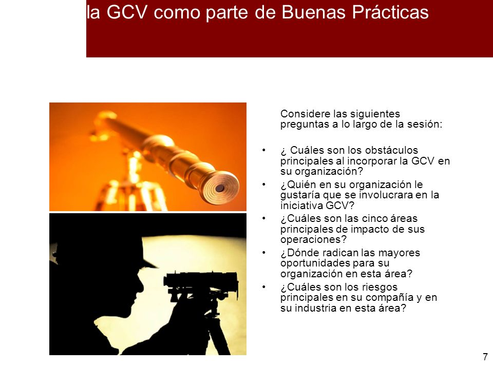 la GCV como parte de Buenas Prácticas
