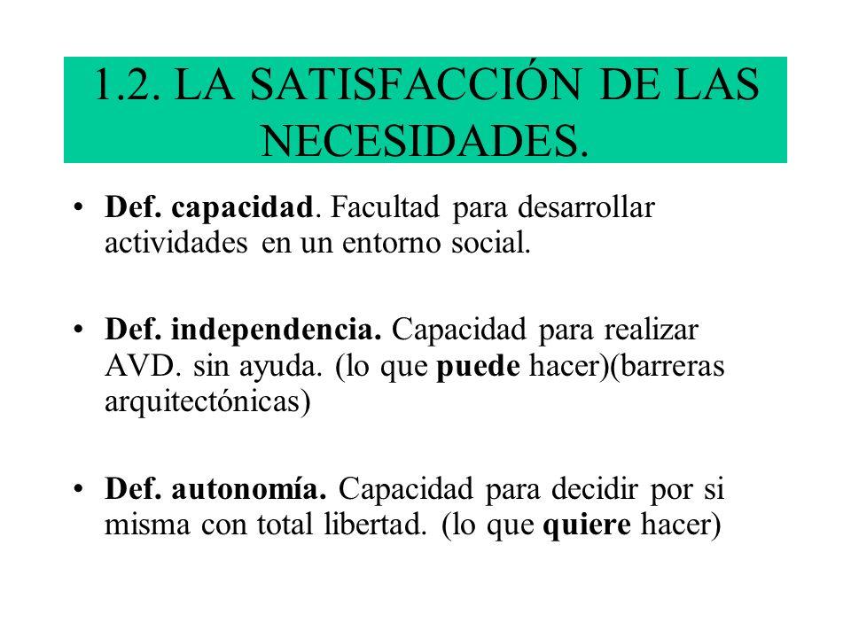 1.2. LA SATISFACCIÓN DE LAS NECESIDADES.