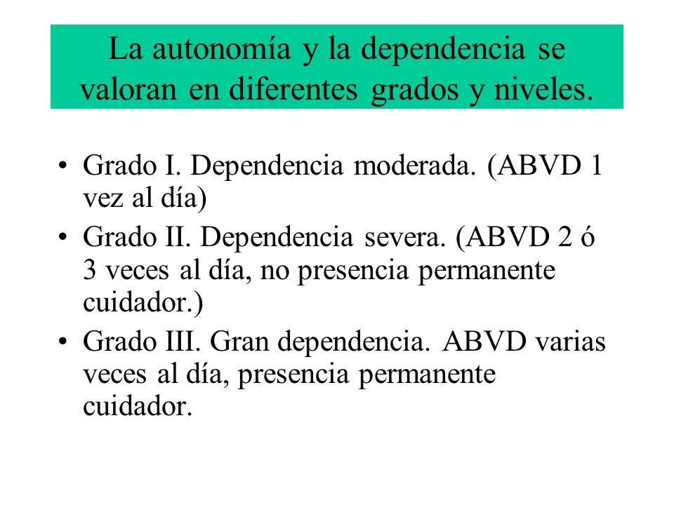 La autonomía y la dependencia se valoran en diferentes grados y niveles.