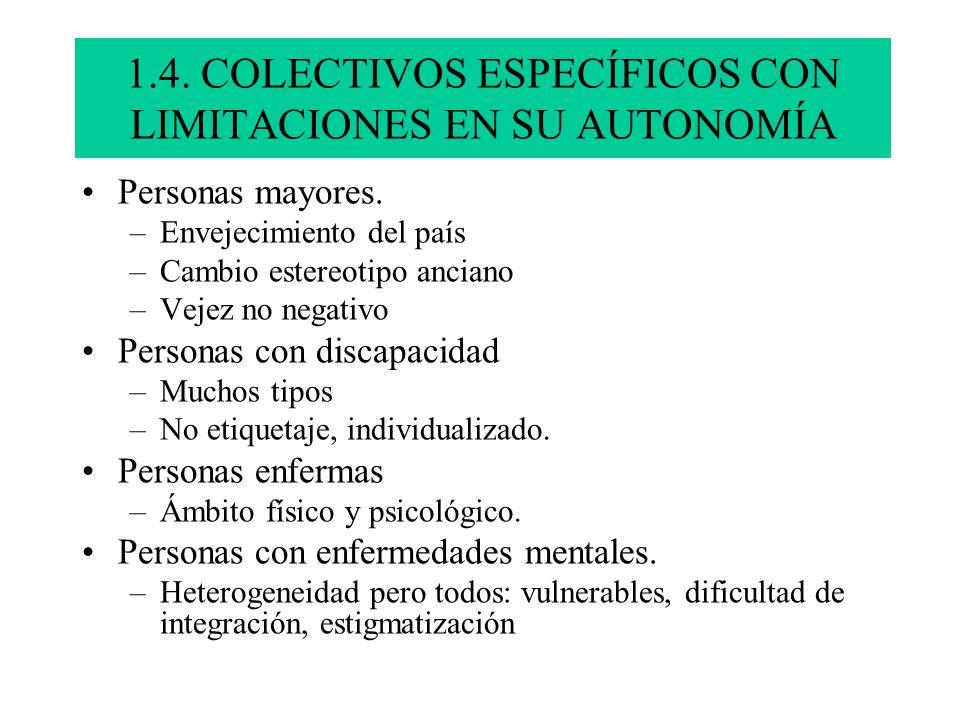 1.4. COLECTIVOS ESPECÍFICOS CON LIMITACIONES EN SU AUTONOMÍA