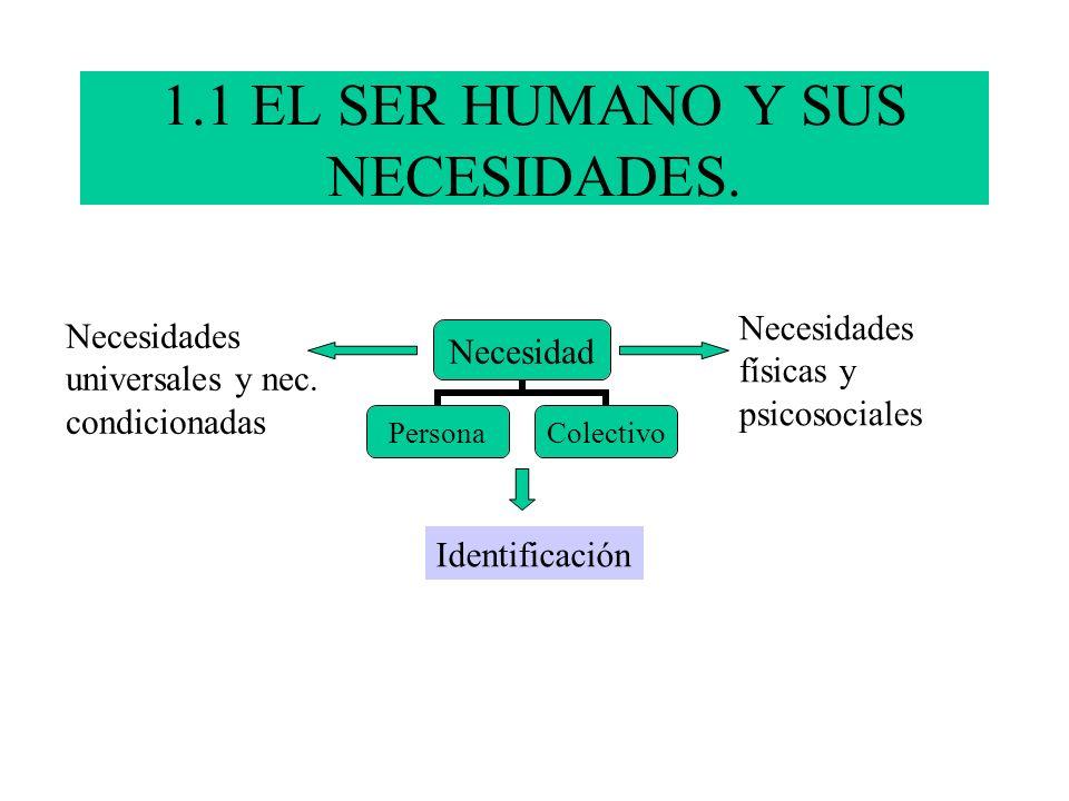 1.1 EL SER HUMANO Y SUS NECESIDADES.