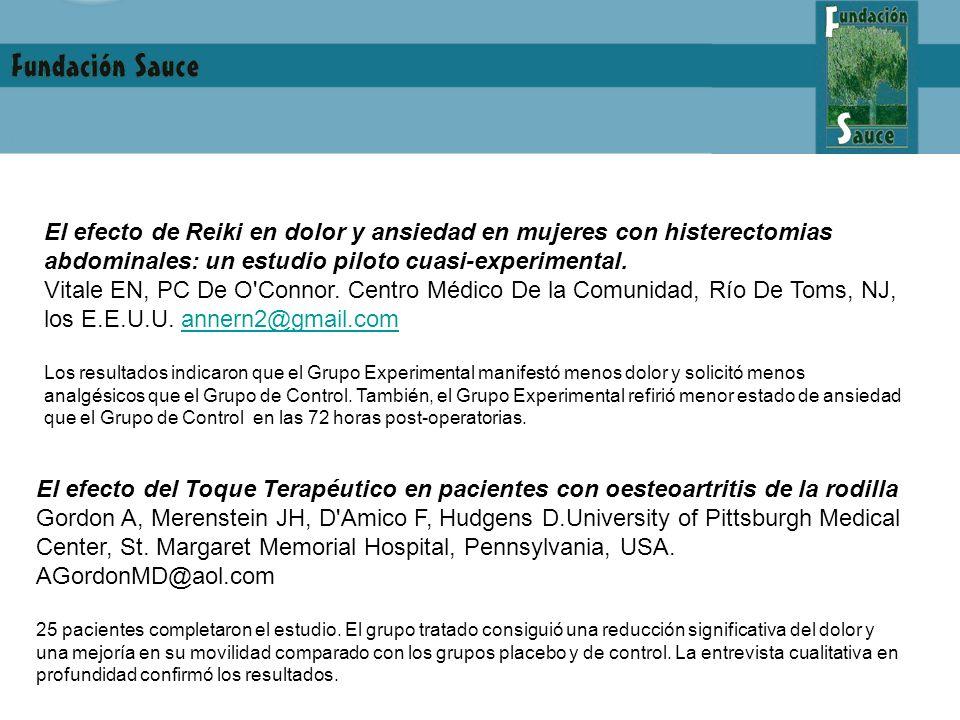 El efecto de Reiki en dolor y ansiedad en mujeres con histerectomias abdominales: un estudio piloto cuasi-experimental.