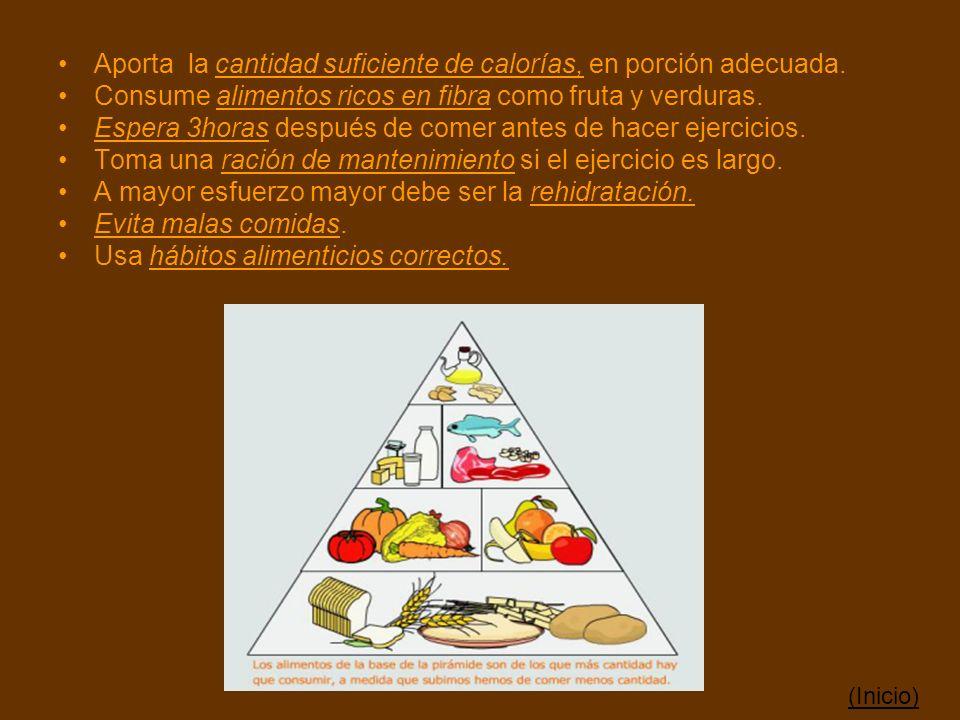 Aporta la cantidad suficiente de calorías, en porción adecuada.