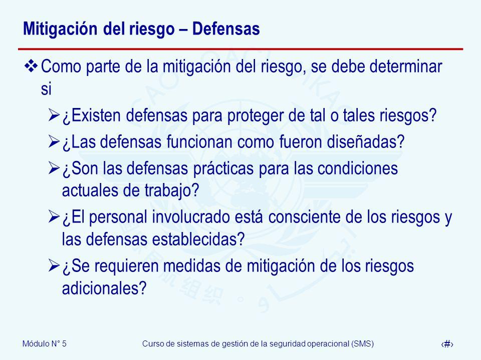Mitigación del riesgo – Defensas