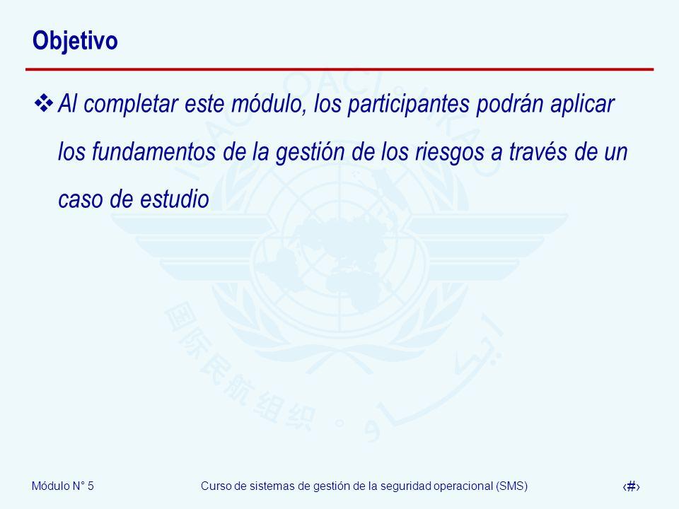 Objetivo Al completar este módulo, los participantes podrán aplicar los fundamentos de la gestión de los riesgos a través de un caso de estudio.