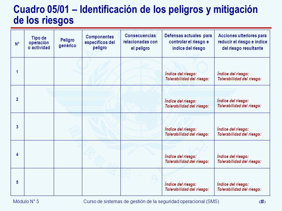 Cuadro 05/01 – Identificación de los peligros y mitigación de los riesgos