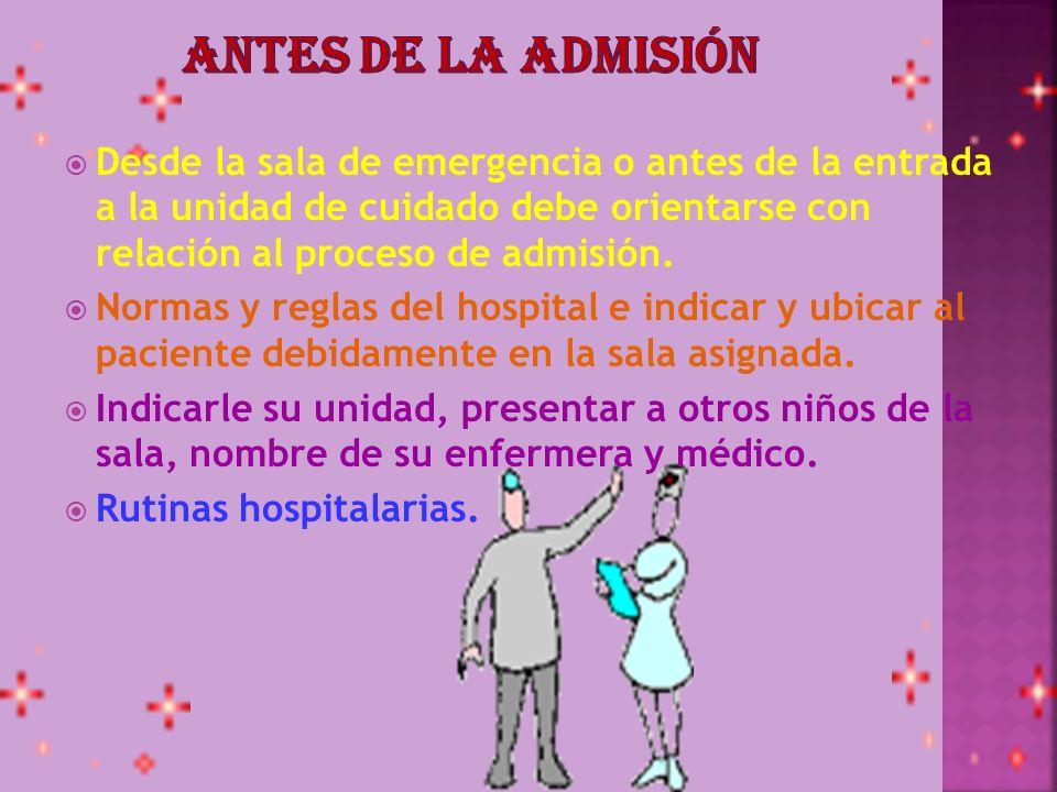 Antes de la admisión Desde la sala de emergencia o antes de la entrada a la unidad de cuidado debe orientarse con relación al proceso de admisión.