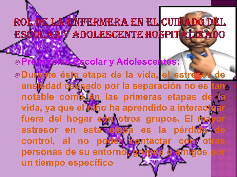 ROL DE LA ENFERMERA EN EL CUIDADO DEL ESCOLAR Y ADOLESCENTE HOSPITALIZADO
