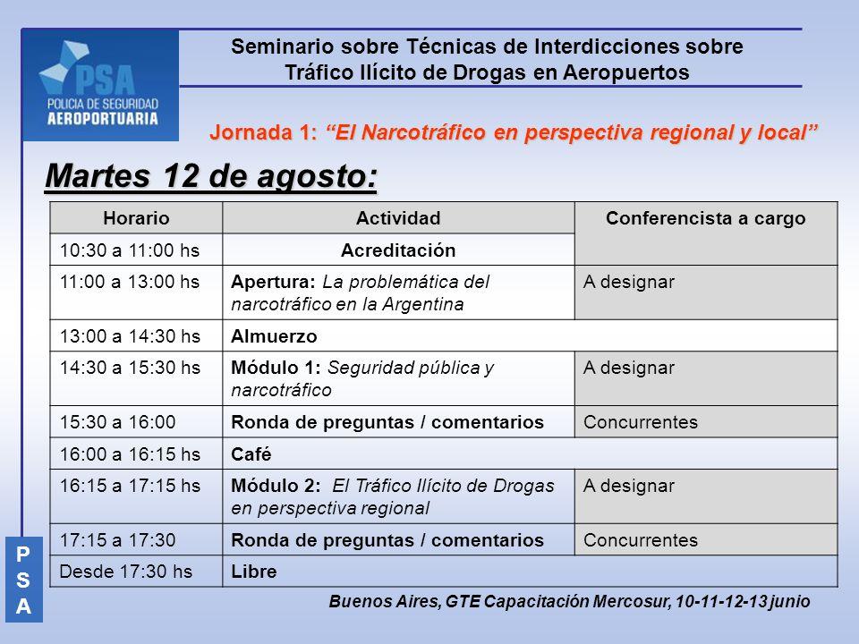 Martes 12 de agosto: Seminario sobre Técnicas de Interdicciones sobre