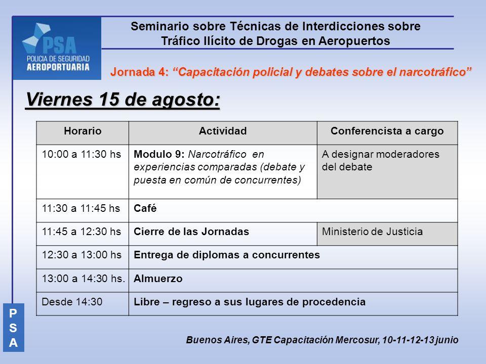 Viernes 15 de agosto: Seminario sobre Técnicas de Interdicciones sobre