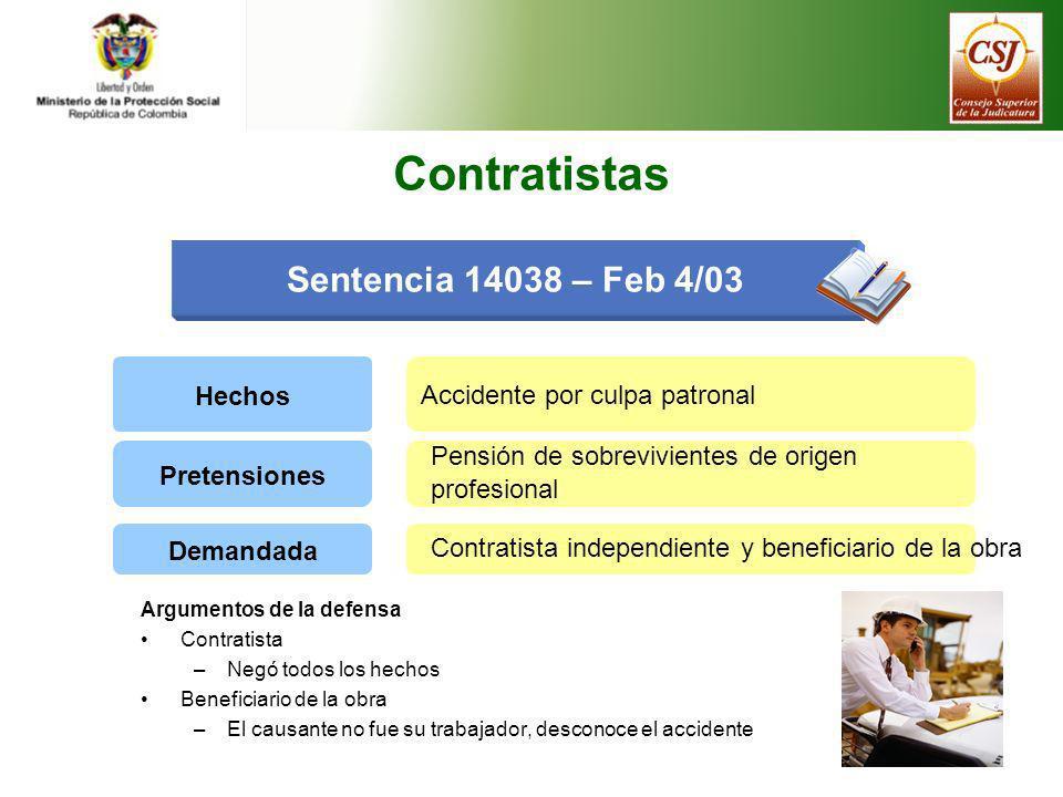 Contratistas Sentencia 14038 – Feb 4/03 Hechos