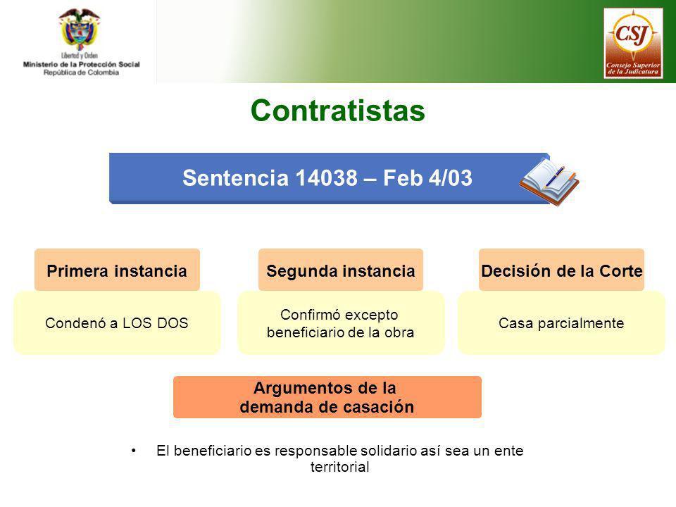 Contratistas Sentencia 14038 – Feb 4/03 Primera instancia