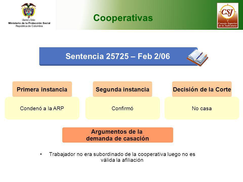 Cooperativas Sentencia 25725 – Feb 2/06 Primera instancia