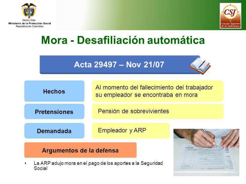 Mora - Desafiliación automática