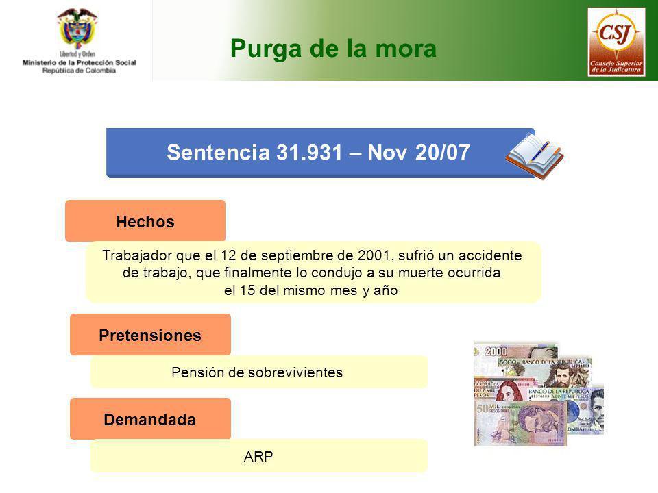 Purga de la mora Sentencia 31.931 – Nov 20/07 Hechos Pretensiones