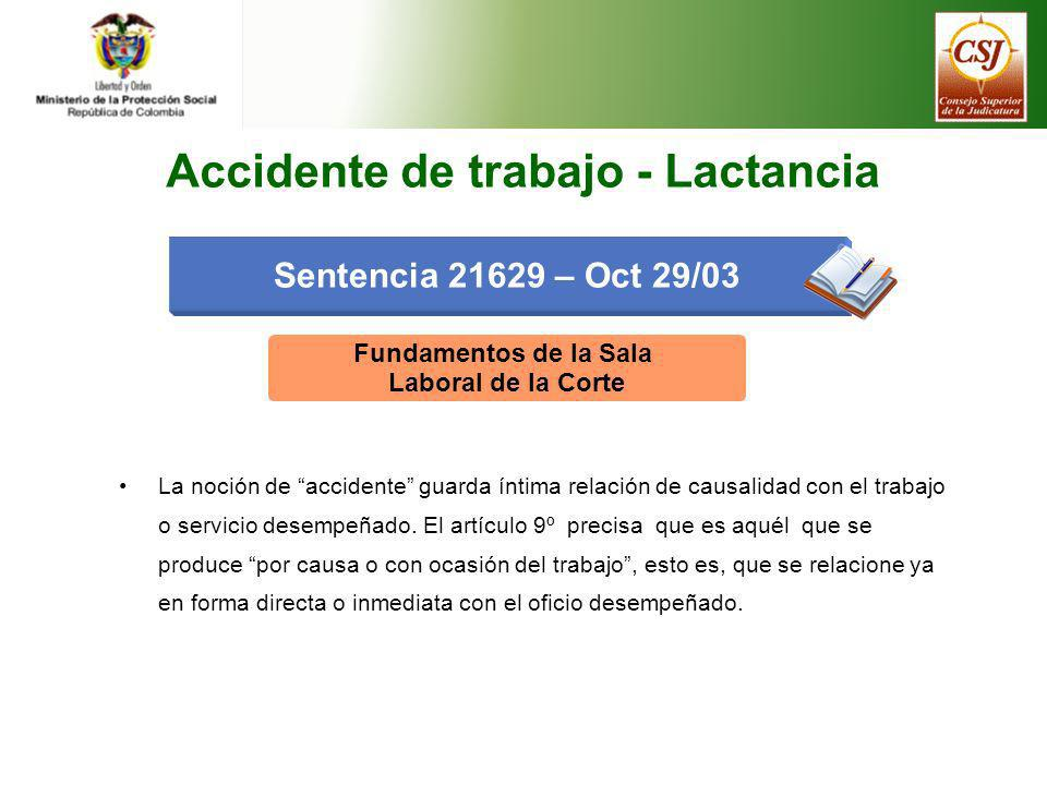 Accidente de trabajo - Lactancia