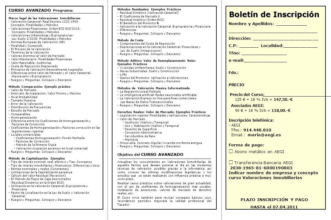 Boletín de Inscripción PLAZO INSCRIPCIÓN Y PAGO