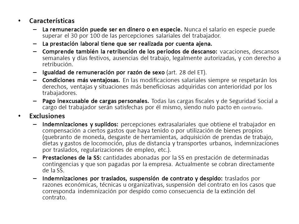 Características Exclusiones