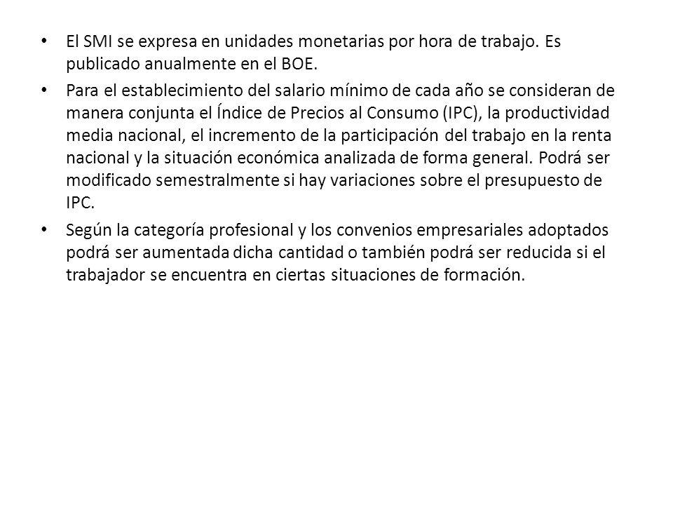 El SMI se expresa en unidades monetarias por hora de trabajo