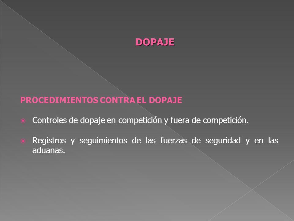 DOPAJE PROCEDIMIENTOS CONTRA EL DOPAJE