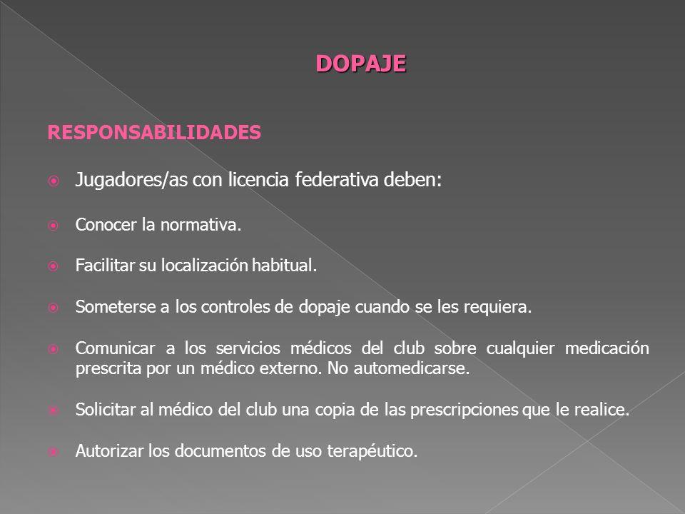 DOPAJE RESPONSABILIDADES Jugadores/as con licencia federativa deben: