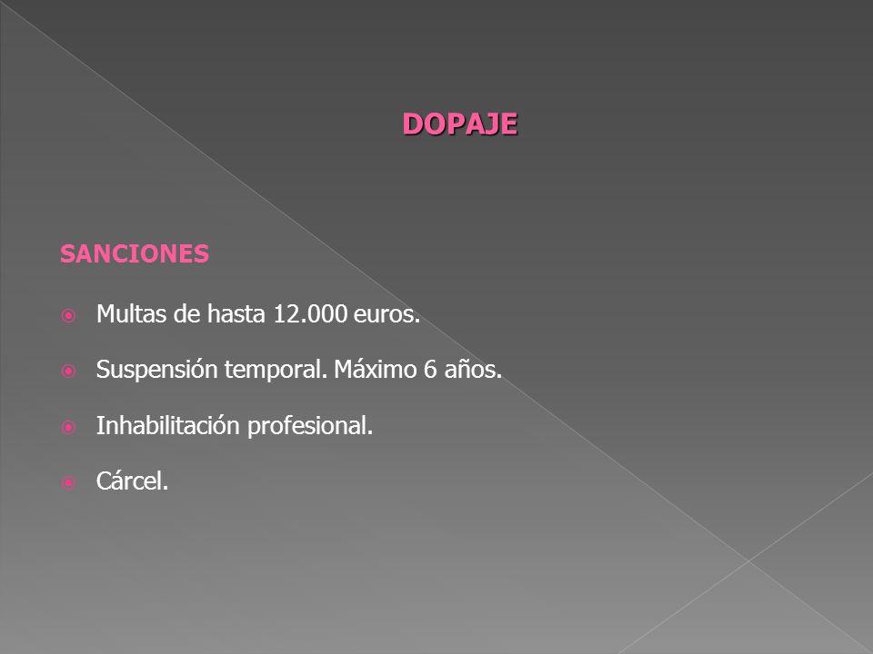 DOPAJE SANCIONES Multas de hasta 12.000 euros.