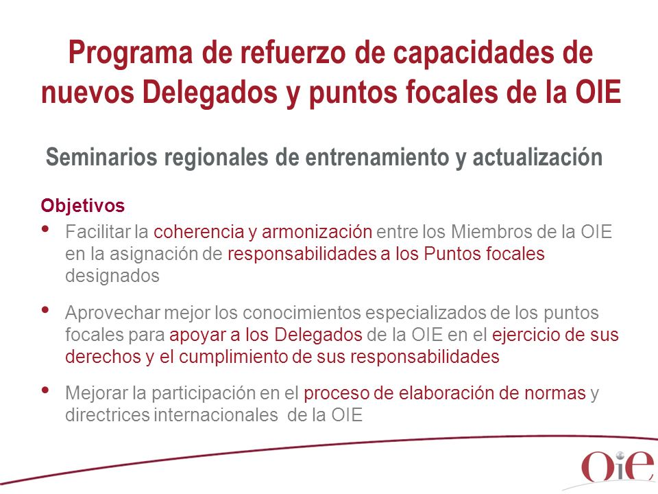 Programa de refuerzo de capacidades de nuevos Delegados y puntos focales de la OIE