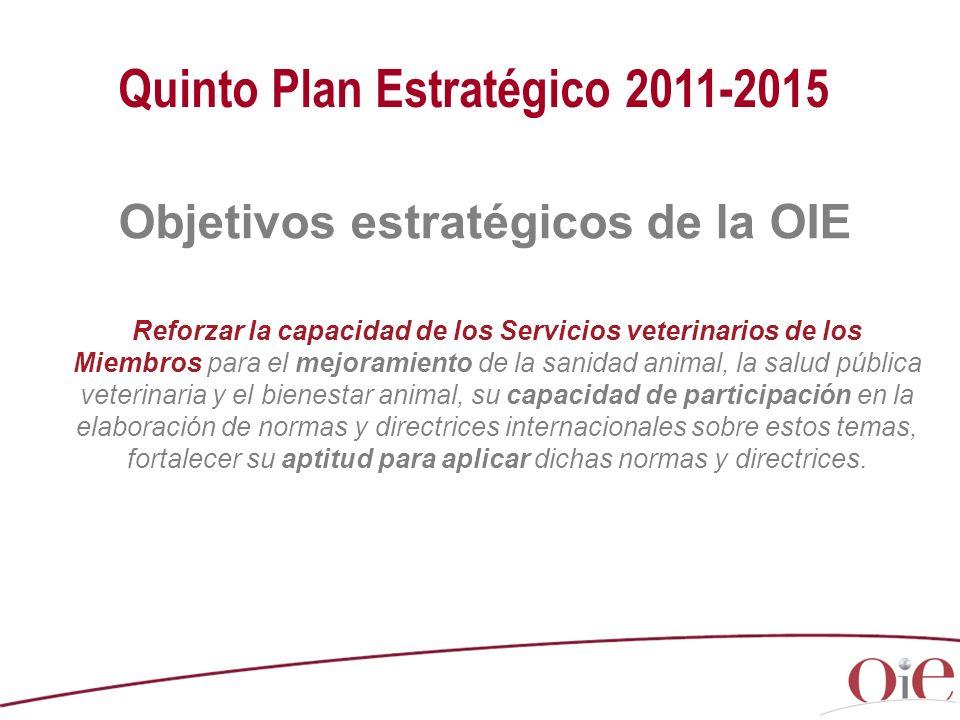 Quinto Plan Estratégico 2011-2015 Objetivos estratégicos de la OIE