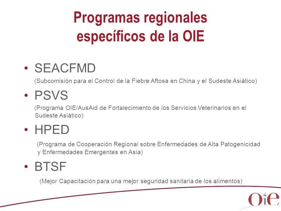 Programas regionales específicos de la OIE