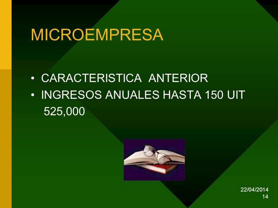 MICROEMPRESA CARACTERISTICA ANTERIOR INGRESOS ANUALES HASTA 150 UIT
