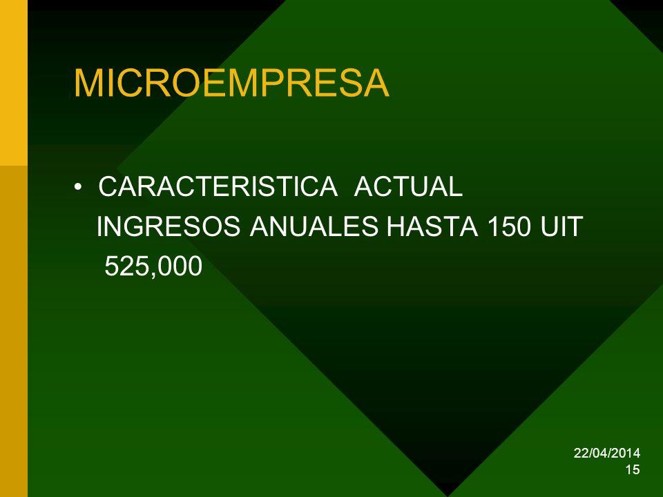 MICROEMPRESA CARACTERISTICA ACTUAL INGRESOS ANUALES HASTA 150 UIT