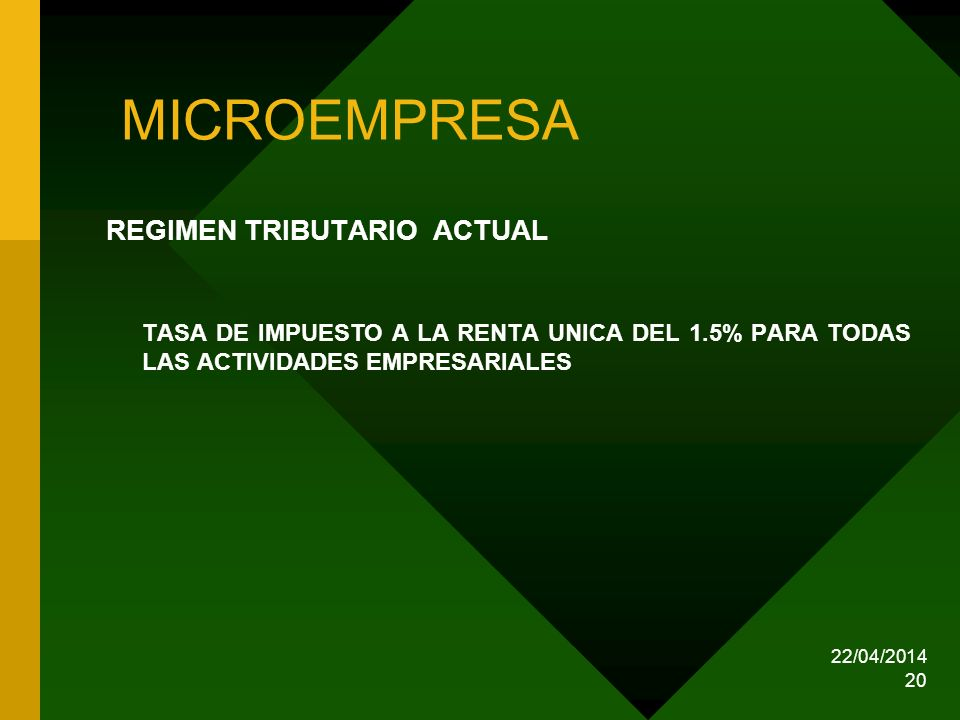 MICROEMPRESA REGIMEN TRIBUTARIO ACTUAL