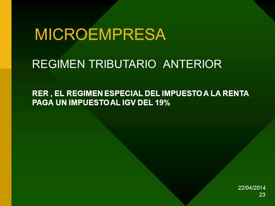 MICROEMPRESA REGIMEN TRIBUTARIO ANTERIOR