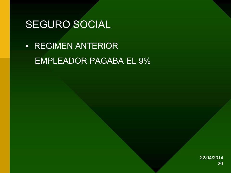 SEGURO SOCIAL REGIMEN ANTERIOR EMPLEADOR PAGABA EL 9% 29/03/2017