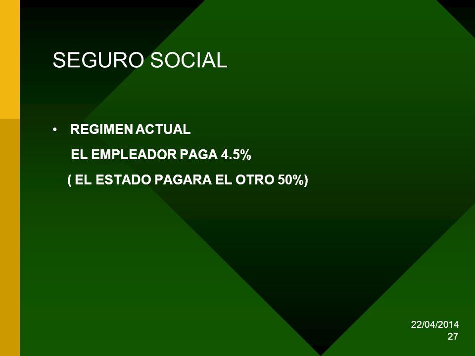 SEGURO SOCIAL REGIMEN ACTUAL EL EMPLEADOR PAGA 4.5%