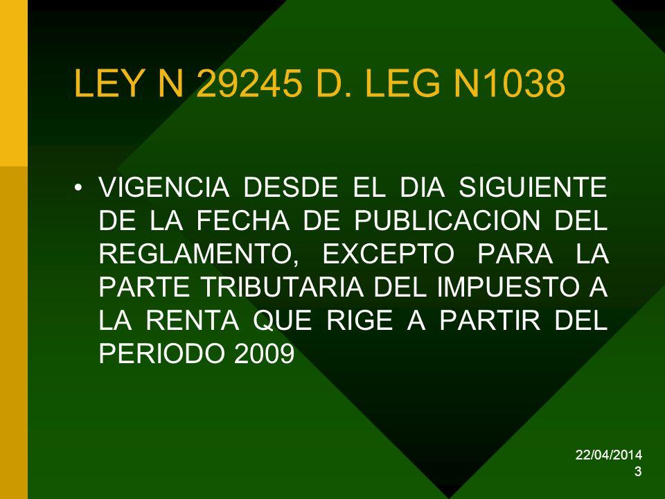 LEY N 29245 D. LEG N1038