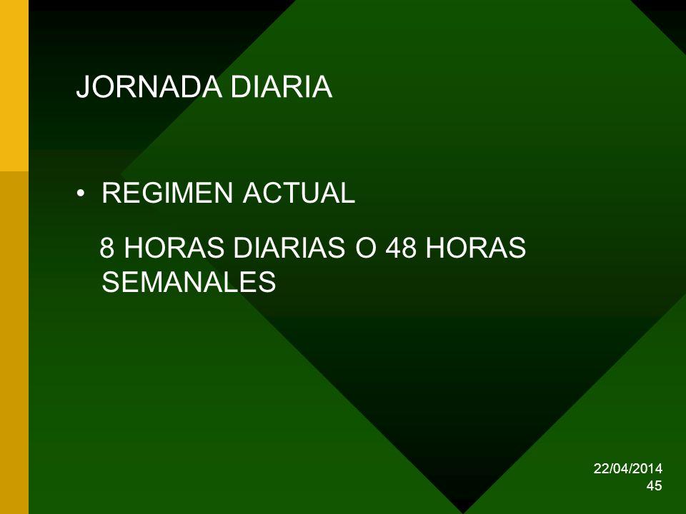 JORNADA DIARIA REGIMEN ACTUAL 8 HORAS DIARIAS O 48 HORAS SEMANALES