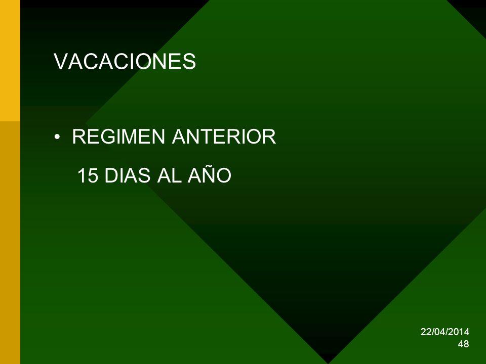 VACACIONES REGIMEN ANTERIOR 15 DIAS AL AÑO 29/03/2017