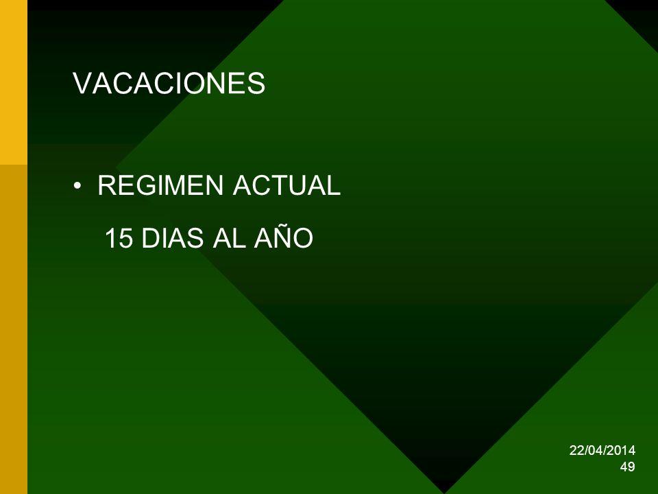 VACACIONES REGIMEN ACTUAL 15 DIAS AL AÑO 29/03/2017