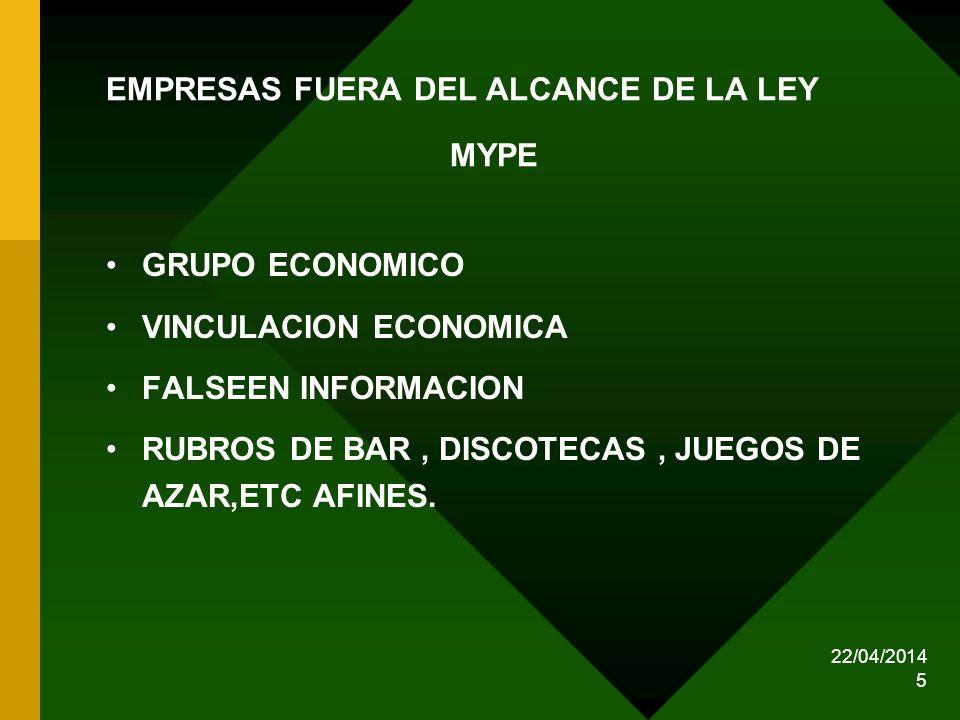 EMPRESAS FUERA DEL ALCANCE DE LA LEY MYPE
