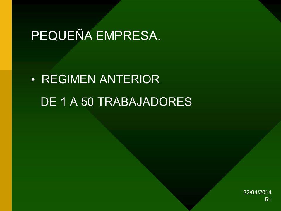 PEQUEÑA EMPRESA. REGIMEN ANTERIOR DE 1 A 50 TRABAJADORES 29/03/2017