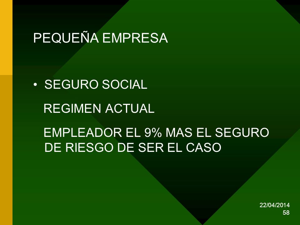 PEQUEÑA EMPRESA SEGURO SOCIAL REGIMEN ACTUAL