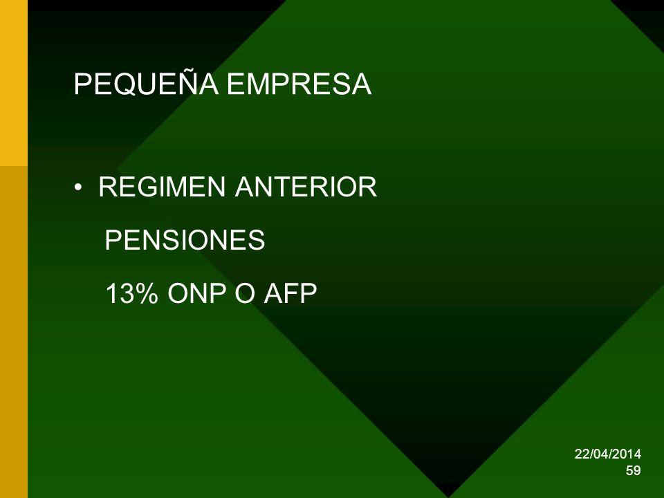 PEQUEÑA EMPRESA REGIMEN ANTERIOR PENSIONES 13% ONP O AFP 29/03/2017