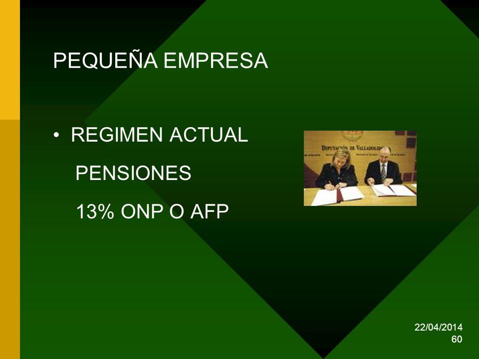 PEQUEÑA EMPRESA REGIMEN ACTUAL PENSIONES 13% ONP O AFP 29/03/2017